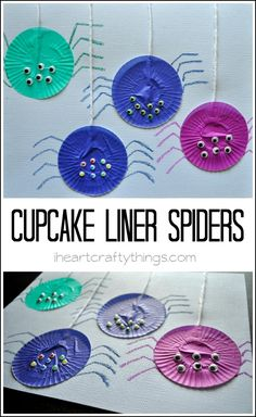I HEART CRAFTY THINGS: Cupcake Liner Spider Craft for Kids Materials: Cupcake liners, white string, crayons or oil pastels, 8 Googly eyes, card stock & glue