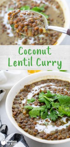 This creamy coconut lentil curry is the perfect dish to cozy up to but is also light enough to serve as an easy side dish. Lentils are a great plant-based source of protein and this recipe is both vegan-friendly and cooks in one pot for easy clean-up! Meatless Recipes, Delicious Vegan Recipes, Healthy Recipes, Coconut Lentil Curry, Curry Dishes, Easy Meal Prep, Healthy Meals For Kids, Side Dishes Easy, Curry Recipes