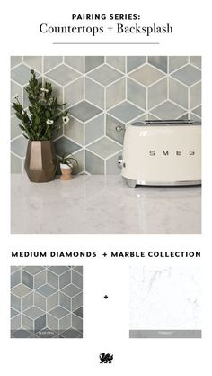 What's your best shape for tile in your backsplash? There are so many options to choose from that will pair beautifully with your Cambria quartz countertops. The neutral hues in our Marble Collection™ pair well with bold motifs like medium diamonds, creating a fun 3-D effect. Browse other shapes and backsplash ideas from Mercury Mosaics include hexagon, fish-scale, and classic subway tile. [Featured Design: Torquay™]