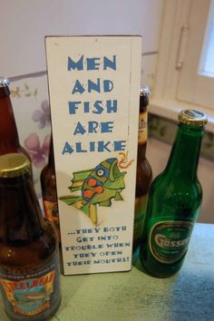 Ready to Hang Funny Fish Sign Men and Fish Quote by FISHeFISH