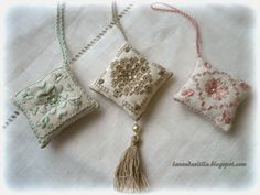 Lavender and Lilac Hardanger Embroidery, Beaded Embroidery, Hand Embroidery, Lavender Sachets, Linens And Lace, Cute Little Things, Sewing Kit, Pin Cushions, Easy Crafts