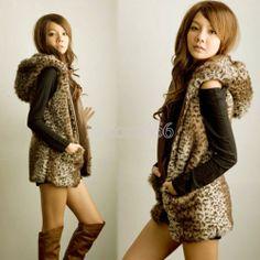 Women Fashion E456 Korean Style Hooded Leopard Sleeveless Vest Outerwear Coats   eBay