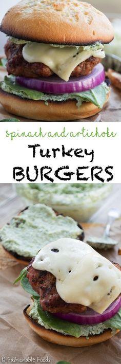 Spinach and Artichoke Turkey Burgers Pin