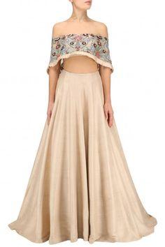 Manish Malhotra Soft Peach Resham Embroidered Off Shoulder Blouse with Plain Lehenga #happyshopping#shopnow#ppus