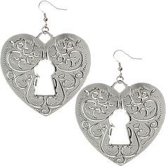 Silver Swirl Heart Cutout Lock Dangle Earrings - Candy Luxx