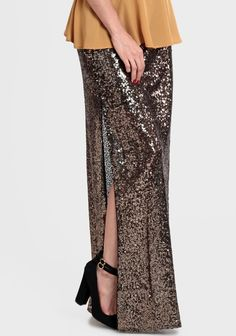 'Into The Night' sequin maxi skirt