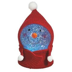 7 Lighted Color Changing Snowman Face in Red Winter Hat Christmas Glitterdome -- You can find more details by visiting the image link. Snowman Faces, Snowmen, Seasonal Decor, Holiday Decor, Shimmer Lights, Earmuffs, Snow Globes, Winter Hats, Seasons