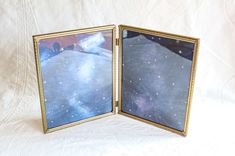 Mid Century Picture Frame, Folding Brass Double Photo Frame, Vintage 8x10