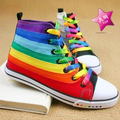 Tide of genuine high help shoes 2011 rainbow-colored sneakers Korea canvas shoes Fashion Books, Kids Fashion, Fashion Ideas, Rainbow Sneakers, Rainbow Photo, Rainbow Wallpaper, Vans Sk8, Rainbow Colors, High Tops