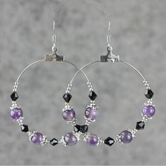 Amethyst big hoop earrings handmade anni designs by AnniDesignsllc, $12.95
