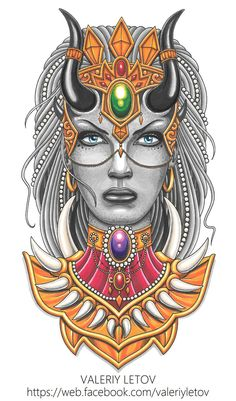 demon girl tattoo sketch by ValeriyLetov