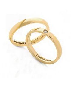 Fedi nuziali in oro giallo con diamante, collezione Alba | DonnaOro  #matrimonio #wedding #sposi #fedi #fedinuziali #nozze #oro #rings #weddingrings