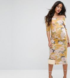 d9c63bccab096 Maternity TALL Bardot Dress with Half Sleeve in Yellow Base Floral Print