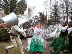 Śmigus-dyngus or lany poniedziałek. Wet Monday (Easter Monday) in Poland. Originally this Slavic custom meant whipping each other with birch twigs and throwing water at each other which used to symbolize the spring cleansing. This ritual was already in custom in 750, over 200 years before Poland officially adopted Christianity. Dyngus and Śmigus were twin pagan gods; the former representing water and the moist earth and the latter representing thunder and lightning .