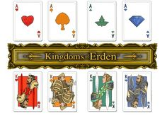 Kings and Aces from kingdoms of Erdens fantasy comic playing cards now on kickstarter Kingdoms of Erden: Fantasy Comic Face Cards. #fantasy #comic #playingcards #spades #clubs #hearts #diamonds #king #queen #jack #knight #elf #dwarf #red #blue #skulls #eagles #rams #poisonivy #gems #rose #runes #keltic #sword #axe #scepter #ordinator #dread #paladin #dwarven #dwarves #elven #elves #bow #arrows #medieval #runic #armor #thorns #feathers #vines #leaves #shield #ace