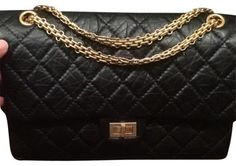 c3a9108d55e7 Classic Flap 2.55 Reissue 226 with Gold Hardware Rare Find Black Leather  Shoulder Bag