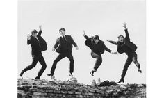 The Beatles, 1963 (jumping shot) from the exhibition Beatles To Bowie: The 60s Exposed, at the National Portrait Gallery, London. Photograph...