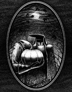 Headless Horseman Scary Halloween Drawings, Halloween Coffin, Halloween Art, Creepy Drawings, Halloween Decorations, Sleepy Hollow Halloween, Horror Drawing, Legend Of Sleepy Hollow, Creepy Tattoos