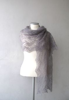 Grey luxurious hand knitted kidsilk lace shawl - stole, kid mohair and silk shawl. $128.00, via Etsy.