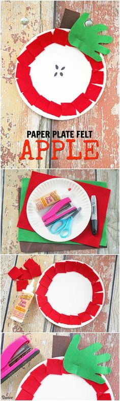 Craft for Kids with Felt and Paper Plates - Darice This cute apple craft is perfect for a back to school classroom project or an at home kid's craft.This cute apple craft is perfect for a back to school classroom project or an at home kid's craft. Paper Plate Crafts For Kids, Daycare Crafts, Fall Crafts For Kids, Classroom Crafts, Paper Crafts For Kids, Toddler Crafts, School Classroom, Craft Kids, Apple Classroom