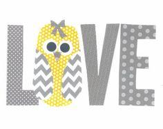 Amarillo y gris amor vivero arte Print / / decoración de la