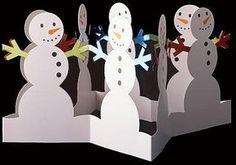 Libros Pop-Up Books Cards: Obras Pop-Up de Diseñador Japonés Draw A Snowman, Snowman Crafts, Winter Art, Winter Theme, Christmas Art, Winter Christmas, Libros Pop-up, Paper Crafts Origami, Kirigami