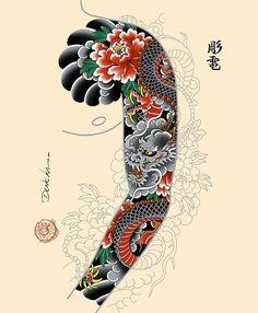 Está disponível para tatuar e adoraria fazer? Japan Tattoo Design, Koi Tattoo Design, Tatoo Designs, Dragon Tattoo Designs, Tattoo Sleeve Designs, Tattoo Japanese Style, Japanese Dragon Tattoos, Traditional Japanese Tattoos, Japanese Tattoo Designs