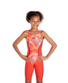 Speedo Girl's Fastskin LZR Racer X Openback Kneeskin Lava Red/Electric Pink/Mango 8-10627b363 Kneesuits