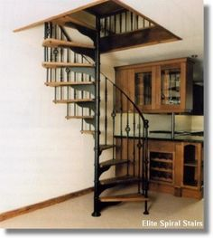 Spiral Staircase Wood with wrought iron