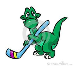 Dinosaur hockey player  cartoon illustration  character  isolated image
