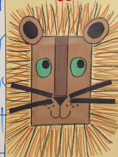 Kindergarten lesson: Read one version of Aesop's fable, The Lion and the Mouse. Build from precut construction paper, with stacking and cutting for ears and eyes, and whiskers