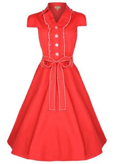 Lindy Bop 'Norma' Landgirl Pinup Tea Dress (XL, Red) Classy and lovely ♡ Vintage Inspired Fashion, Vintage Inspired Dresses, 1940s Fashion, Vintage Fashion, Mode D'inspiration Vintage, Retro Mode, Vintage Style, Vintage Outfits, Vintage Dresses