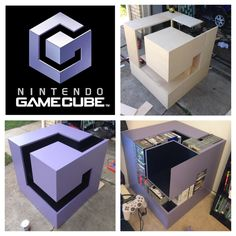 GameCube Logo Shelf: For Luigi's Mansion Nerd Room, Gamer Room, Gaming Room Setup, Gaming Desk, Cafe Geek, Nintendo Room, Nintendo Decor, Video Game Rooms, Game Room Design