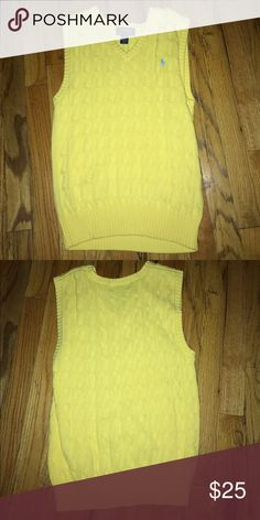 Ralph Lauren polo cardigan vest Yellow cardigan sweater vest worn for 2 hours perfect condition size 10-12 Shirts & Tops Sweaters