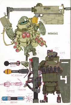Infantry & RPG robot by Lapo Roccella on ArtStation.