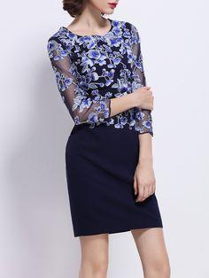 Shop Mini Dresses - Purplish Blue Elegant Floral-embroidered Crew Neck Mini Dress online. Discover unique designers fashion at StyleWe.com.