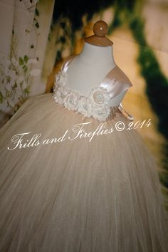 Champagne Flower girl dress, Shabby Chic Tutu Dress with Satin Shoulders, Great for Weddings, Photo Shoots, Birthdays 18 Mo, 2t,3t,4t.5t,6