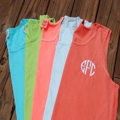 Monogrammed comfort color tank top. Swim suit cover up