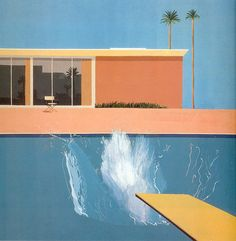 A Bigger Splash is a large pop art painting by British artist David Hockney. It depicts a swimming pool beside a modern house, disturbed by a large splash of water created by an unseen figure who has apparently just jumped in from a diving board. Illustration Arte, Illustration Inspiration, Inspiration Art, Illustrations, Art Inspo, David Hockney Pool, David Hockney Art, David Hockney Paintings, Arte Pop