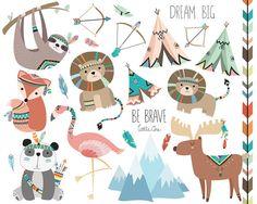 Clipart de animales tribales Vol. 3 - juego de arte Tribal Vector, PNG y JPG archivos - lindo bosque Clip Art, Clipart de animales, vivero forestal, 23