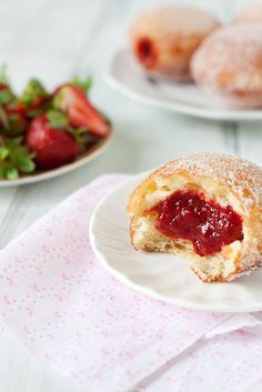 Strawberry Vanilla Doughnuts. #food #donuts #doughnuts