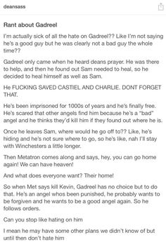 Gadreel [I am quite convinced that Gadreel really wants to be good, and is very sincere. He just doesn't know how. He seems so lost...]