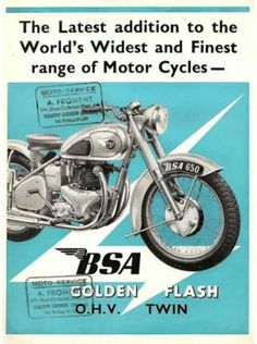 Finding Vintage Cars That Are For Sale - Popular Vintage Bsa Motorcycle, Motorcycle Posters, Classic Motorcycle, Motorcycle Types, British Motorcycles, Vintage Motorcycles, Scooters, Retro Bike, Bike Poster