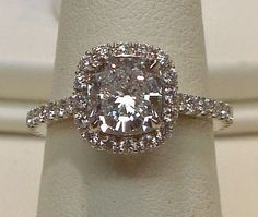 6.5 cts. Cushion diamond halo setting ring platinum .. so pretty!!!