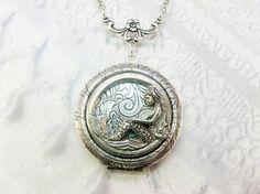 Silver Locket Necklace - The ORIGINAL Little MERMAID LOCKET - Jewelry by BirdzNbeez - Wedding Birthday Bridesmaids Gift