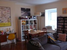 great use of space to make three rooms/areas in a tiny 625sqft apartment