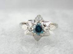 Beautiful Star Themed Ring With Blue Diamond Center by MSJewelers