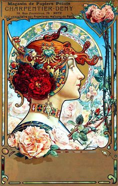 Artist: Louis Théophile Hingre Born November 1832 predating Mucha by who was born July Most of his work was done while Mucha was still an infant which makes him the true father of Art Nouveau (even though Mucha popularized it). Art Nouveau Mucha, Alphonse Mucha Art, Art Nouveau Poster, Design Art Nouveau, Art Design, Art Vintage, Vintage Posters, Art Posters, Vintage Drawing