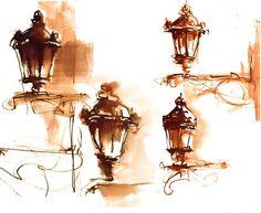 Street Lamps | Watercolor Study