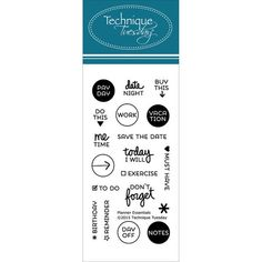 Technique Tuesday-Clear Stamps. Bring a positive attitude to your paper crafts! These stamps are made of the highest quality photopolymer. This package contains Planner-Essentials: a set of nineteen clear stamps on one 4x2 inch backing sheet. Made in USA.